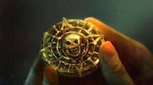 Artwork Gold Medallion Skull Pirates Of The Caribbean 1920x1027 wallpaper