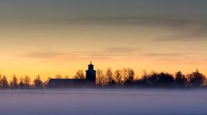 Church Landscape Sky Snow Sunset 2048x1365 Wallpaper