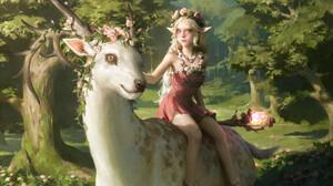 Senfeng Chen Fantasy Art Illustration Elf Ears Deer Druid Flowers Forest Elf Girl 1920x1355 Wallpaper