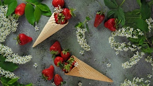 Berry Flower Fruit Still Life Strawberry Waffle Cone 6000x4000 Wallpaper