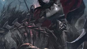 Lee Jung Myung Artwork Women Battle Fantasy Art Fantasy Girl Girls With Swords Sword Dark Hair Fanta 1500x2000 Wallpaper