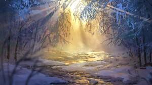 Anime Winter Forest Snow Sunrise Surendra Rajawat 1920x1096 Wallpaper