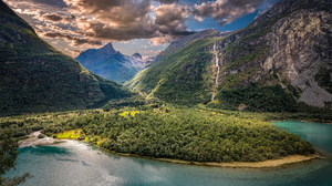 Cloud Fjord Forest Hdr Landscape Mountain Norway Summer Sunshine Waterfall 2048x1176 Wallpaper
