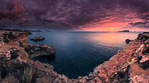 Cloud Coast Coastline Earth Horizon Ocean Rock Sea Sky Sunset 1920x1080 wallpaper