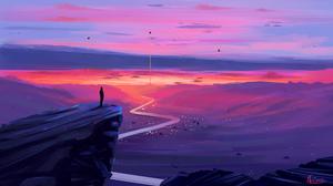Artwork Digital Art Road Mountains Sunset Cliff Silhouette 3840x2160 wallpaper