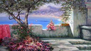 Artistic Colorful Courtyard Ocean Painting 2560x1600 Wallpaper