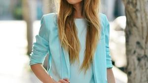 Kristina Bazan Women Celebrity Blonde Blue Clothing Skirt Blue Clothes Long Hair Makeup Blue Jacket  900x1350 Wallpaper