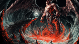 Demon Giant Horns Magic Wings Wizard 4000x2828 wallpaper