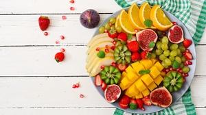 Fig Fruit Grapes Kiwi Mango Still Life Strawberry 5938x3891 Wallpaper
