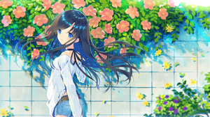 Black Hair Blue Eyes Flower Girl Long Hair Shorts 2361x1500 Wallpaper