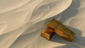 Gold Bar Sand Desert 3D 2560x1440 Wallpaper