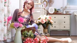 Asian Women Model Long Hair Brunette Sitting Flowers Vases Dresser Curtains White Heels Twintails 3840x2559 Wallpaper