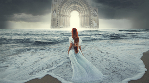 Arch Girl Horizon Long Hair Ocean Redhead Sea White Dress Woman 2000x1500 wallpaper