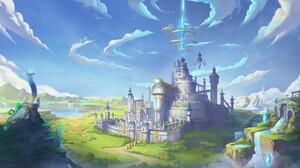 Comic Z Fantasy Art Digital Art Castle Fantasy Architecture Landscape Clouds Crystal 1587x893 Wallpaper