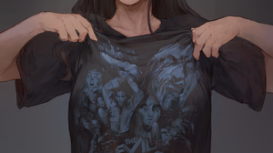Evil Dead Anime Anime Girls Original Characters T Shirt Smiling Looking At Viewer Simple Background  3290x4350 wallpaper