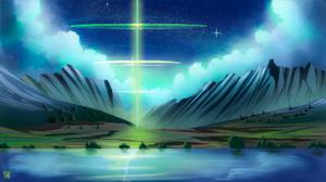 Mountain Top Grass Beam Clouds Lake Reflection Pool Shining Reflection Stars Flares 1920x1080 Wallpaper