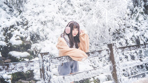 Women Asian Leaning Outdoors Looking At Viewer Women Outdoors Cold Snow Trees Winter Long Hair 1365x2048 wallpaper