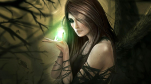 Brunette Fantasy Light Tree Witch Woman 1920x1200 Wallpaper