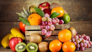Apple Banana Fruit Grapes Kiwi Orange Fruit 2560x1440 Wallpaper