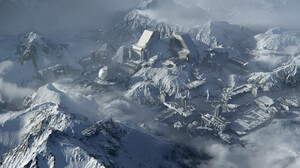 Artwork Digital Art Landscape Ice Cold ArtStation Mountains 3840x1977 Wallpaper