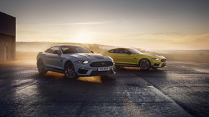 Ford Ford Mustang Mach 1 Car Vehicle Muscle Cars Sunrise Mist Sky Horizon White Cars Yellow Cars 5120x2880 Wallpaper