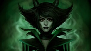 Demon Green Horns Woman 4454x3255 Wallpaper