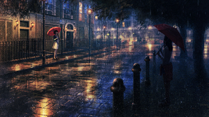 Anime Girls Landscape Night Rain Umbrella Natsu Artist 1750x1080 Wallpaper