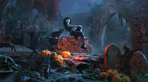 Artwork Spooky Cats Animals Mammals Women Sitting Green Eyes Glowing Eyes Cemetery Looking At Viewer 1920x822 wallpaper