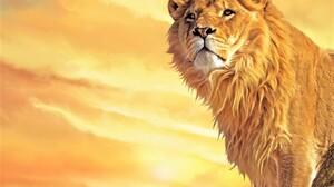Artistic Lion Painting Sunset 1600x1200 wallpaper