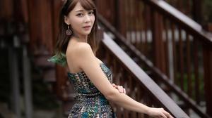 Asian Women Model Long Hair Brunette Railings Tattoo Earring Depth Of Field Dress Hairband Necklace 4562x3041 Wallpaper
