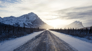 Road Snow Sunrise Winter 3840x2160 wallpaper