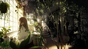 Anime Anime Girls Brunette Long Hair Dark Eyes Leaves Plants Window Room 2894x2046 Wallpaper