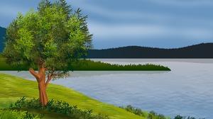 Lake Landscape Tree 1920x1359 Wallpaper