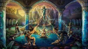 Magic People Temple Elemental Meditation Earth Water Fire 1920x1200 Wallpaper