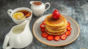 Food Pancakes Sweets Strawberries Fruit Berries 1920x1080 wallpaper