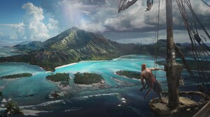 Fan Art Island Landscape Pirate 2500x1233 wallpaper