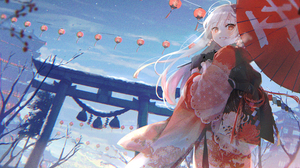 Anime Anime Girls Oyuyu Torii Snow Silver Hair Red Eyes Grin Umbrella Japanese Clothes Kimono New Ye 4096x2768 Wallpaper