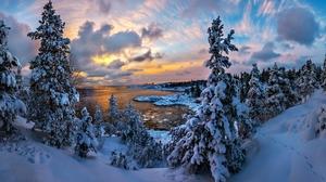 Earth Lake Mountain Snow Sunset Winter 3000x1881 Wallpaper