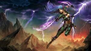 Blue Hair Fantasy Girl Katarina League Of Legends Lightning Sword Woman Warrior 1921x1080 Wallpaper