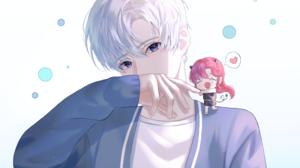 Blue Eyes Boy Bubble Girl White Hair 2236x1677 Wallpaper