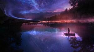 Digital Art Boat Mountains Stars Forest Lake Mist Galaxy Martina Stipan T1na 2560x1440 Wallpaper