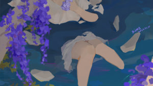 XilmO Anime Girls Flowers Anime Short Hair Water 1158x1637 Wallpaper