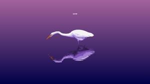 Artistic Artwork Bird Digital Art Minimalist Purple Reflection Simple Water 3108x2022 wallpaper