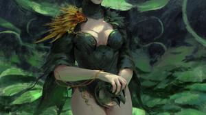 Liu Xuan Artwork Fantasy Art Women Fantasy Girl Plants Standing Looking At Viewer Yellow Eyes 1800x2546 Wallpaper
