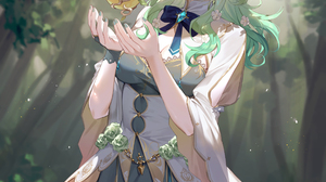 Ceres Fauna Dress Hana3901 Hololive Horns Thigh Highs Antlers Apples Blue Ribbons Branch Flowers Foo 2618x3474 Wallpaper