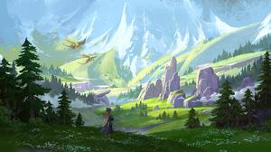 Dragon Girl Mountain 3840x2130 Wallpaper