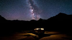 Milky Way Silhouette Mountains Sky Stars Nature 3840x2160 Wallpaper