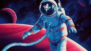 Illustration Science Fiction Retro Science Fiction Astronaut Reflection Space Station Space Planet 3840x2160 Wallpaper