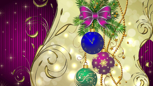 Christmas Ornaments Clock Gold Holiday New Year Purple 4126x3000 Wallpaper