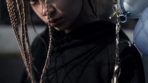 Yuriy Lyamin Women Ksenia Kokoreva Brunette Long Hair Braids Hoods Black Clothing Balloon Silver Out 1280x1920 Wallpaper